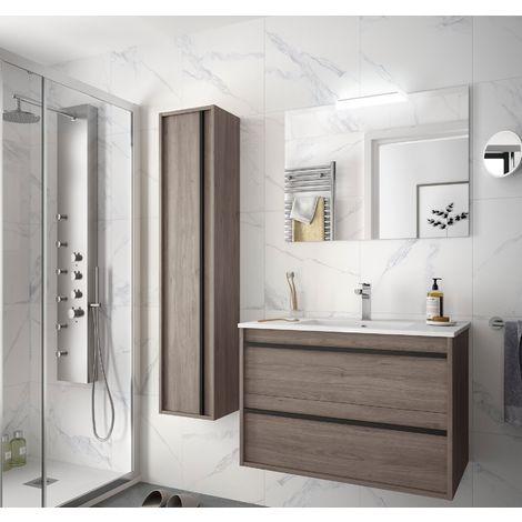 Meuble de salle de bain suspendu 80 cm Nevada en bois couleur chêne avec lavabo en porcelaine