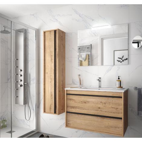 Meuble de salle de bain suspendu 80 cm Nevada en bois couleur chêne claire avec lavabo en porcelaine
