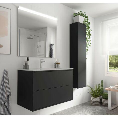 Meuble de salle de bain suspendu 80 cm Ulisse en bois couleur Noir mat avec lavabo en porcelaine