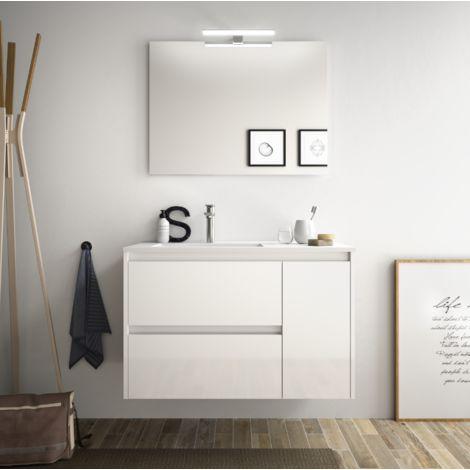 Meuble de salle de bain suspendu 85 cm Blanc laque avec lavabo en porcellain à encastrer