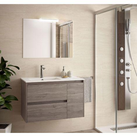 Meuble de salle de bain suspendu 85 cm Chêne eternity avec lavabo en porcelaine
