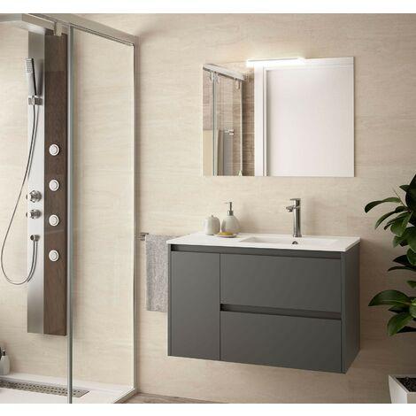 Meuble de salle de bain suspendu 85 cm gris opaque avec lavabo à droite