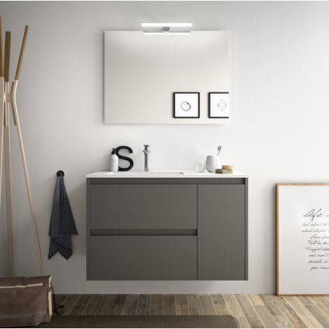 Meuble de salle de bain suspendu 85 cm gris opaque avec lavabo en porcellain à encastrer