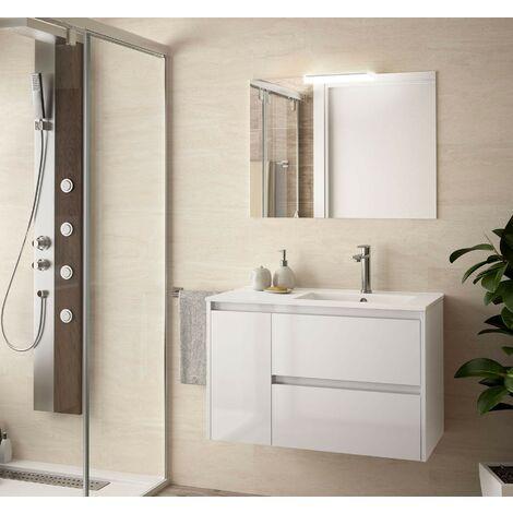 Meuble de salle de bain suspendu 85 cm laqué blanc brillant avec lavabo à droite