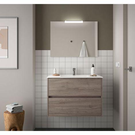 Meuble de salle de bain suspendu 90 cm chêne eternity avec lavabo en porcelaine
