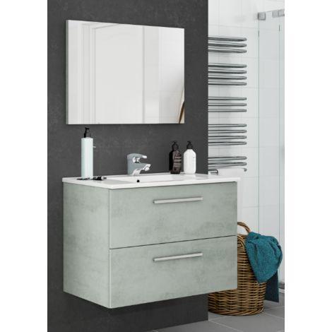 Meuble de salle de bain suspendu Aruba 80 cm Ciment avec miroir
