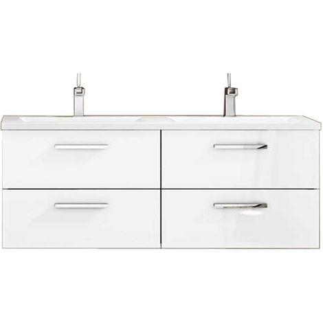 Meuble de salle de bain suspendu CORDOBA 120 cm Blanc Brillant