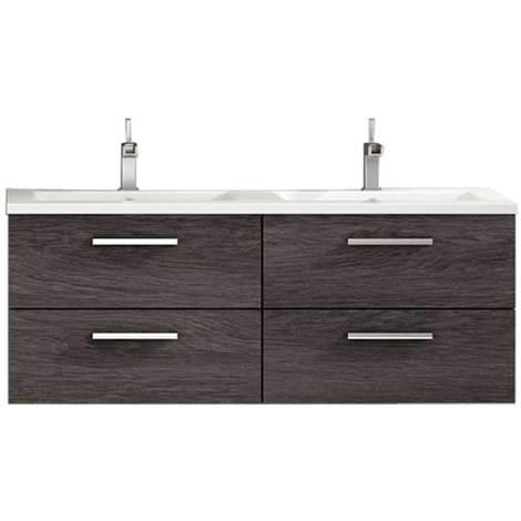 Meuble de salle de bain suspendu cordoba 120 cm bois fonc mmbesfarcorb120mur - Meuble bois fonce ...