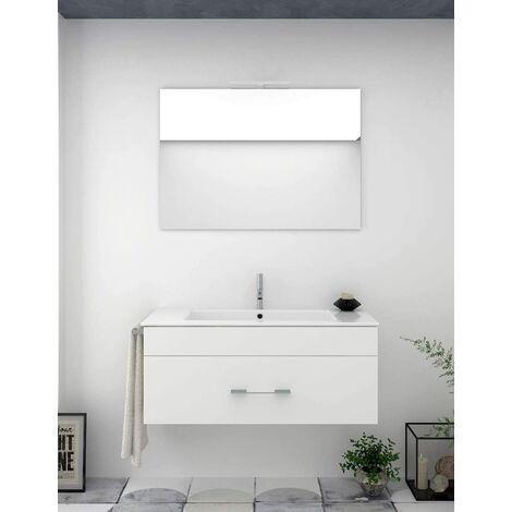 Meuble de salle de bain suspendu ENIF avec miroir et lavabo - BLANC - 100CM