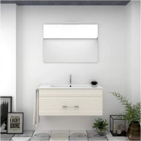 Meuble de salle de bain suspendu ENIF avec miroir et lavabo - CRÈME - 100CM