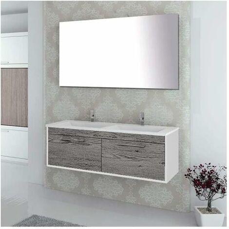 Meuble de salle de bain suspendu ENIF avec miroir et lavabo double vasque - 120 cm -