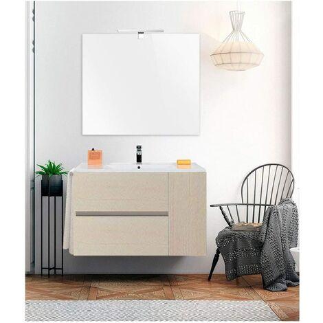 Meuble de salle de bain suspendu GEA avec miroir et lavabo - 2 tiroirs avec poignée à gorge et un espace de rangement avec porte - CRÈME
