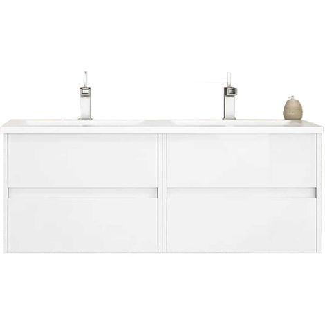 Meuble de salle de bain suspendu LERMA 120 cm Blanc Brillant