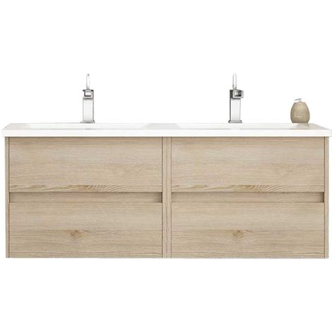 Meuble de salle de bain suspendu LERMA 120 cm Bois clair