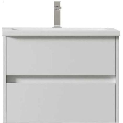 Meuble de salle de bain suspendu LERMA 60 cm Blanc Brillant