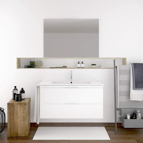 Meuble de salle de bain suspendu MIZAR avec miroir et lavabo - BLANC -