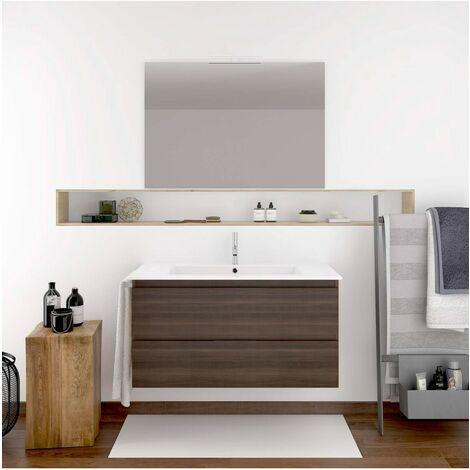 Meuble de salle de bain suspendu MIZAR avec miroir et lavabo - FRÊNE TEA -