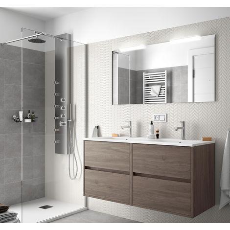 Meuble de salle de bain suspendue 120 cm en bois Chêne eternity avec lavabo en porcelaine