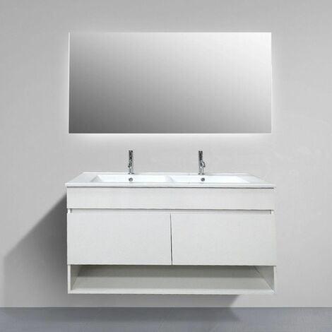 Meuble de salle de bain suspendue HERA avec miroir et double vasque 120 cm. Pas d'assemblage nécessaire!