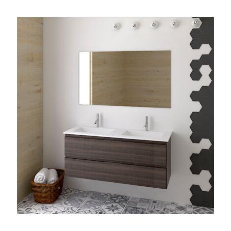 Meuble de salle de bain suspendus LOKI avec plan vasque et miroir. Avec porte-serviettes en cadeau!!! différentes coleurs et tailles en Frêne tea 120CM 2 SENOS