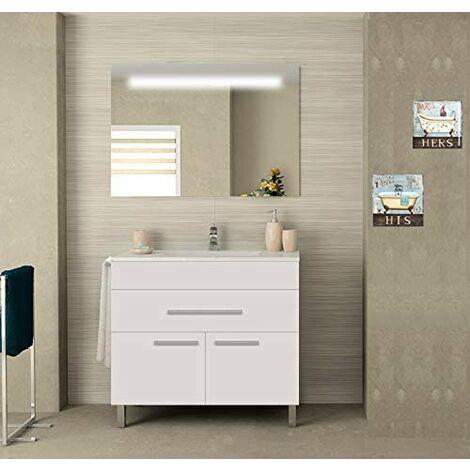 Meuble de salle de bain SYN bon marché avec plan vasque et miroir rétroéclairé LED. Avec porte-serviettes en cadeau!!! différentes coleurs et tailles en Blanc 80CM