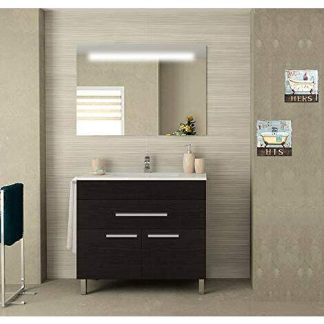 Meuble de salle de bain SYN bon marché avec plan vasque et miroir rétroéclairé LED. Avec porte-serviettes en cadeau!!! différentes coleurs et tailles en Chêne sinatra 80CM