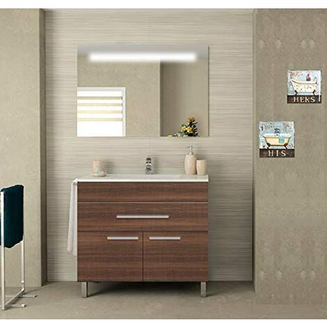 Meuble de salle de bain SYN bon marché avec plan vasque et miroir rétroéclairé LED. Avec porte-serviettes en cadeau!!! différentes coleurs et tailles en Frêne tea 80CM