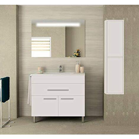 Meuble de salle de bain SYN bon marché avec plan vasque, miroir rétroéclairé LED et colonne auxiliaire. Avec porte-serviettes en cadeau!!! différentes coleurs et tailles en Blanc 80CM