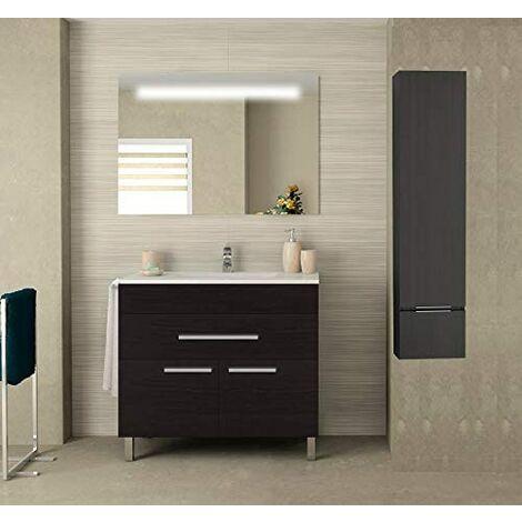Meuble de salle de bain SYN bon marché avec plan vasque, miroir rétroéclairé LED et colonne auxiliaire. Avec porte-serviettes en cadeau!!! différentes coleurs et tailles en Chêne sinatra 80CM