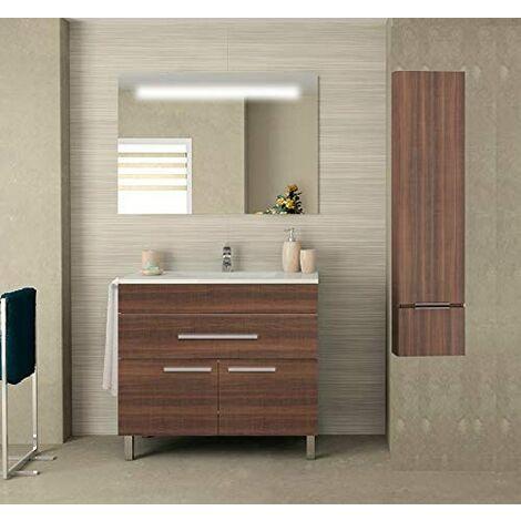 Meuble de salle de bain SYN bon marché avec plan vasque, miroir rétroéclairé LED et colonne auxiliaire. Avec porte-serviettes en cadeau!!! différentes coleurs et tailles en Frêne tea 80CM