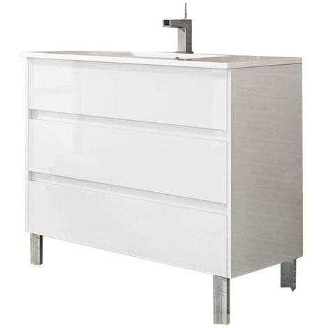 Meuble de salle de bain TENERIFE 100cm blanc brillant