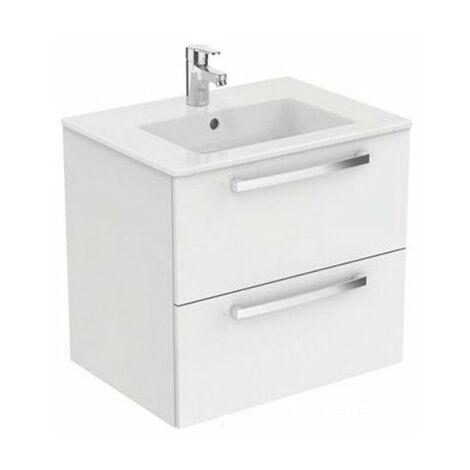 Meuble de salle de bain Ulysse - 2 tiroirs - 70cm - Blanc brillant