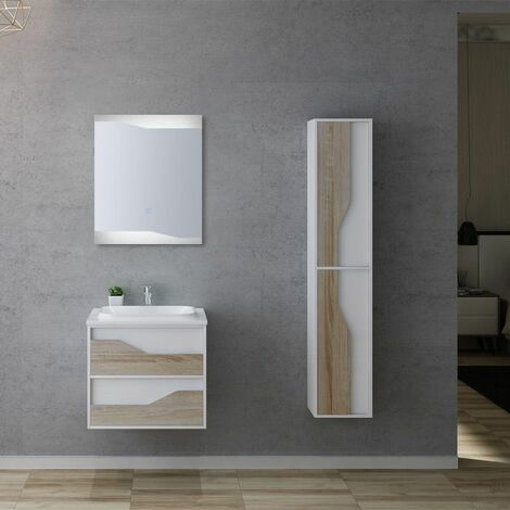 Meuble de salle de bain URBINO 600 Scandinave et Blanc