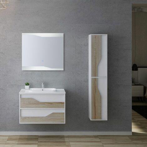 Meuble de salle de bain URBINO 800 Scandinave et Blanc