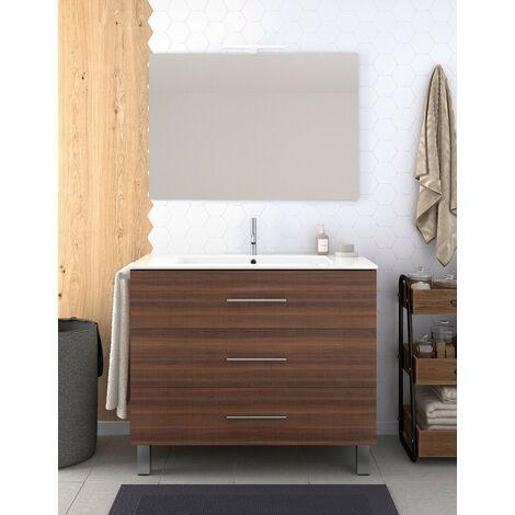 Meuble de salle de bain VALI avec miroir et lavabo Solid surface 80 cm Fr