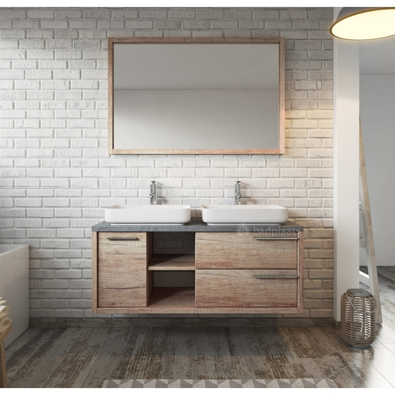 Meuble de salle de bain vermont 120cm lavabo nature wood armoire de rangement meuble lavabo - Meuble salle de bain nature ...