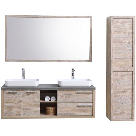 Meuble de salle de bain vermont 150cm lavabo nature wood armoire de rangement meuble lavabo - Meuble salle de bain nature ...