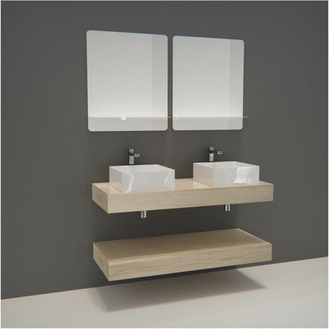 Meuble de Salle de Bain WILL - Plan épais 120 cm + 2 Vasques + 2 Miroirs + Equerres - Bois Clair