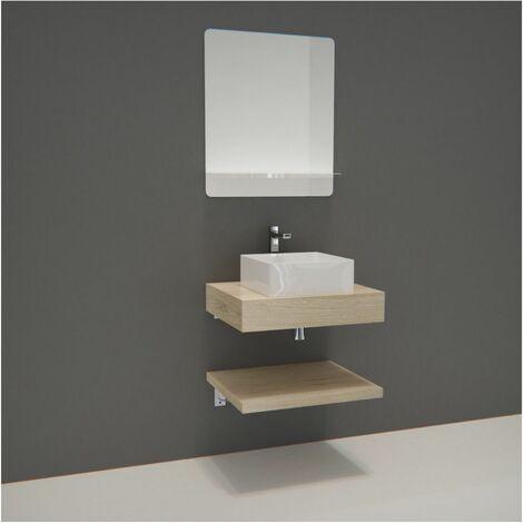 Meuble de Salle de Bain WILL - Plan épais 60 cm + Plan fin + Equerres + Vasque + Miroir - Bois Foncé