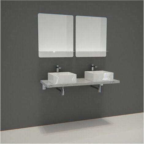 Meuble de Salle de Bain WILL - Plan suspendu 120 cm + 2 Vasques + 2 Miroirs + Equerres - Béton