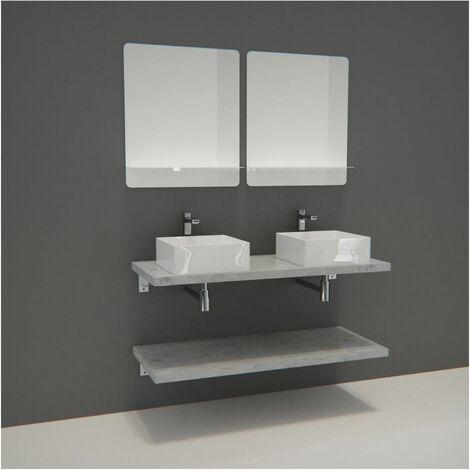 Meuble de Salle de Bain WILL - Plan suspendu 120 cm + Equerres invisibles + 2 Vasques + 2 Miroirs - Béton