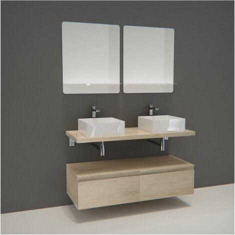 Meuble de Salle de Bain WILL - Plan suspendu 120 cm + Equerres + Meubles tiroir + Vasques + Miroirs - Béton