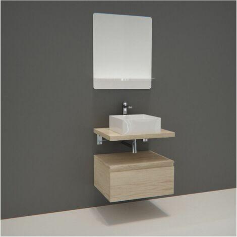 Meuble de Salle de Bain WILL - Plan suspendu 60 cm + Meuble tiroir + Vasque + Miroir + Equerres - Décor chêne