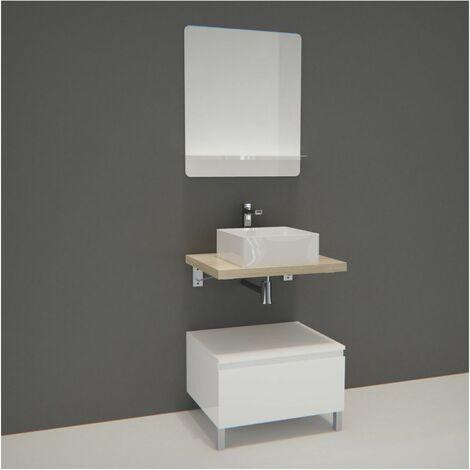 Meuble de Salle de Bain WILL - Plan suspendu 60 cm + Meuble tiroir + Vasque + Miroir + Pieds réglables + Equerres - Décor chêne
