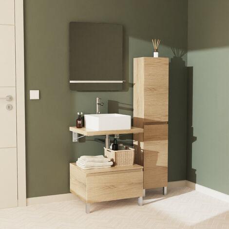 Meuble de Salle de Bain WILL - Plan suspendu 60 cm + Vasque + Miroir + Colonne + Equerres + Pieds - Bois Clair