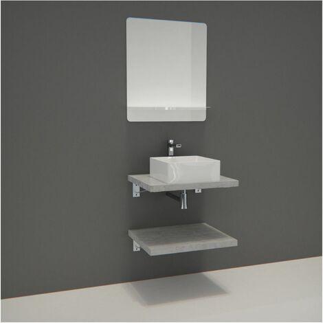 Meuble de Salle de Bain WILL - Plan suspendu 60 cm + Vasque + Miroir + Equerres - Béton