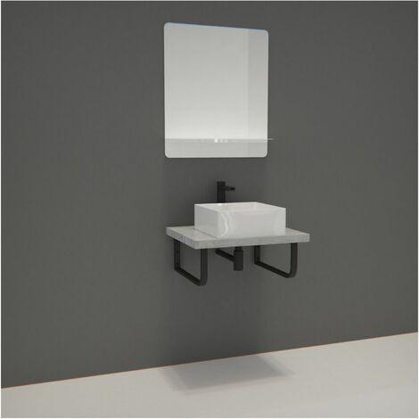 Meuble de Salle de Bain WILL - Plan suspendu 60 cm + Vasque + Miroir + Equerres - Décor chêne