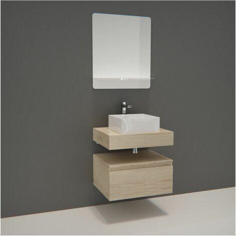 Meuble de Salle de Bain WILL - Plan suspendu 60 cm + Vasque + Miroir + Meuble tiroir + Equerres - Décor chêne