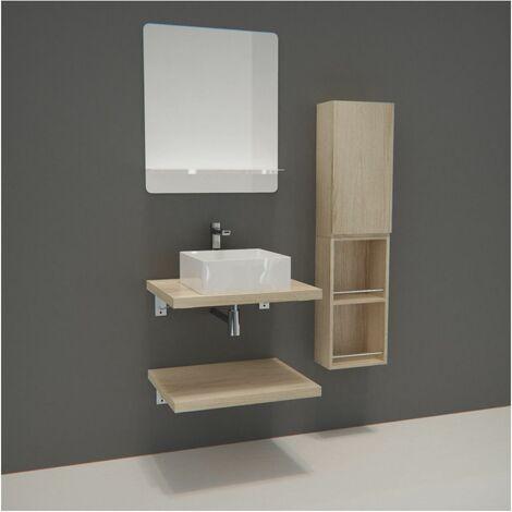 Meuble de Salle de Bain WILL - Plan suspendu 60 cm + Vasque + Miroir + Meubles de rangement + Equerres - Bois Clair