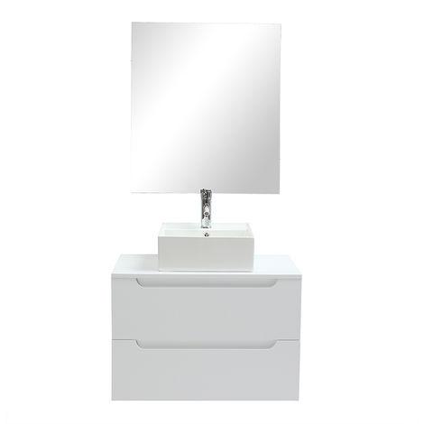 Meuble De Salle De Bains Avec Vasque Miroir Et Rangements